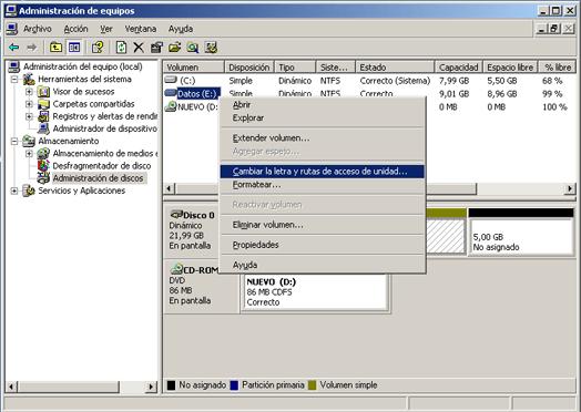 Cambiar la letra de una unidad de disco en Windows Server 2003