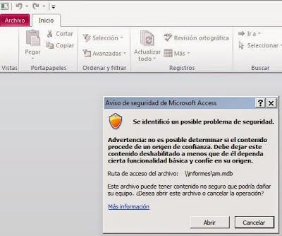 """Error """"Se identificó un posible problema de seguridad"""" al abrir base de datos Access mdb accdb"""