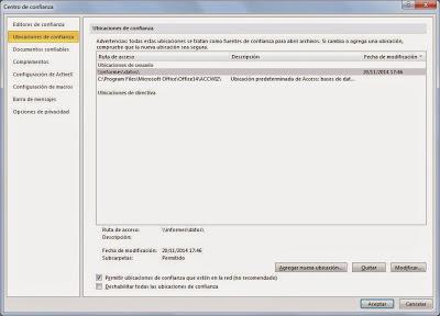 Quitar aviso de seguridad en Microsoft Access 2010 al abrir base de datos en ubicación de red