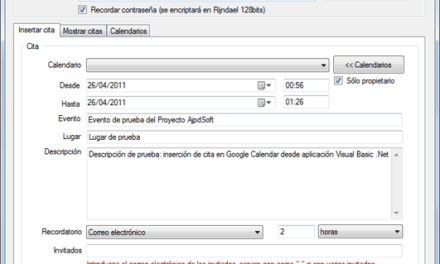 Insertar evento de Google Calendar con Visual Basic .Net y Google Data API