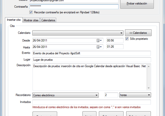 AjpdSoft Insertar Evento Google Calendar Código Fuente Visual Basic .Net