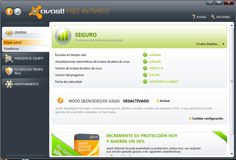 La interfaz de usuario de avast! Free Antiviros 5.0