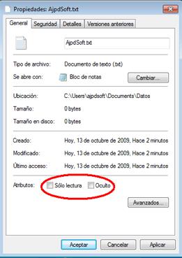 Los atributos de un archivo en Windows sólo lectura, oculto, cifrado, sistema