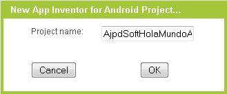 Crear nuevo proyecto Google App Inventor para Android, ventana de diseño de la aplicación, componentes