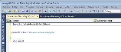 Desarrollar aplicación VB.Net con acceso nativo a MySQL Server mediante Connector/Net
