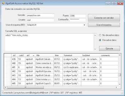AjpdSoft Acceso nativo MySQL Código Fuente VB.Net