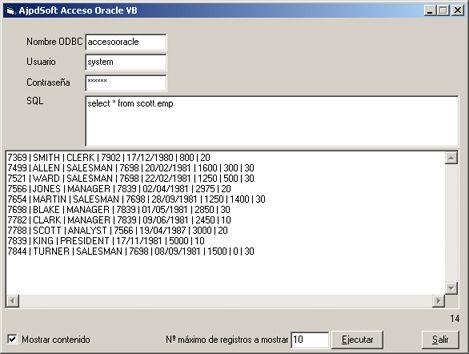 Acceso a Oracle mediante Microsoft Visual Basic RDO y ODBC