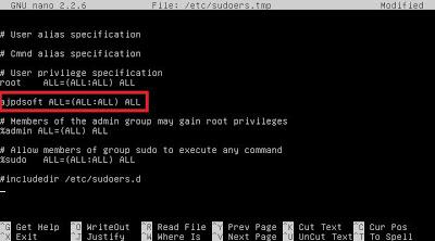 Agregar usuario a fichero sudoers para no usar root para tareas administrativas