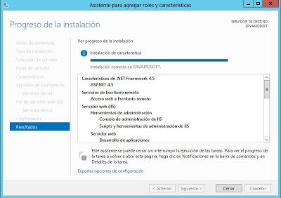 Instalar rol Servicios de Escritorio remoto en Windows Server 2012