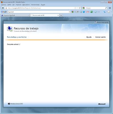 Instalar rol Servicios de Escritorio Remoto en W2012