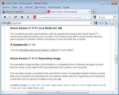 Descargar fichero ISO con Oracle Solaris 11 Live Media for x86, preparar DVD y BIOS equipo