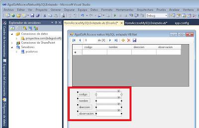 Desarrollar aplicación VB.Net con componentes enlazados a MySQL de forma nativa