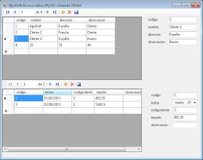 AjpdSoft Acceso nativo MySQL enlazado Código Fuente VB Net