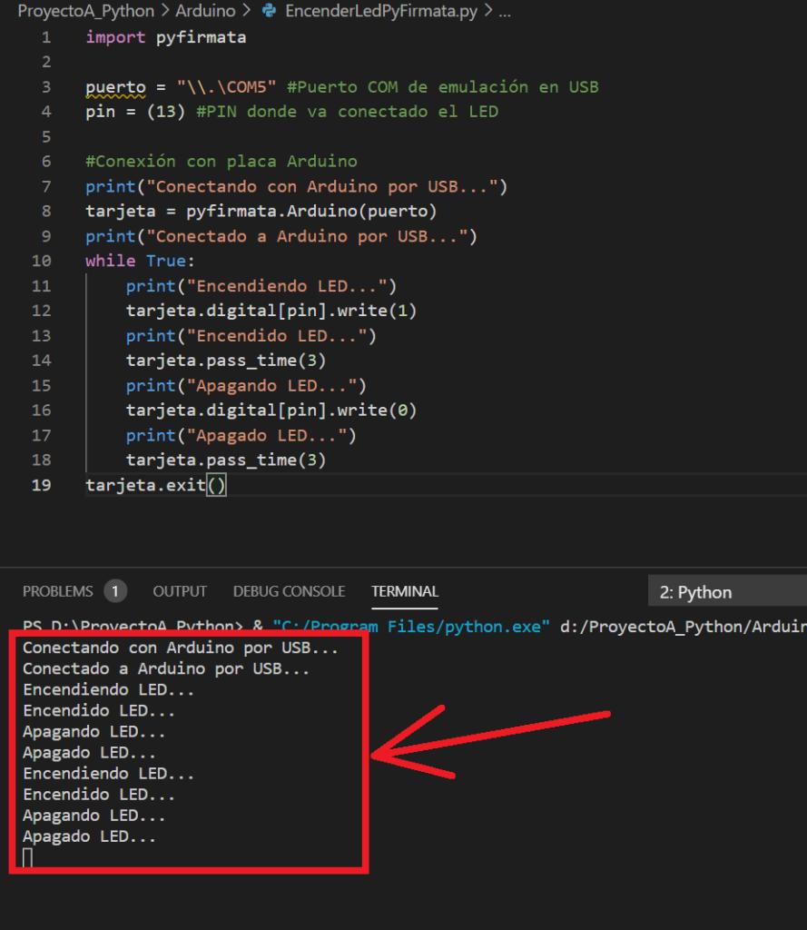 Código Python para conectar con placa Arduino mediante USB y encender un LED