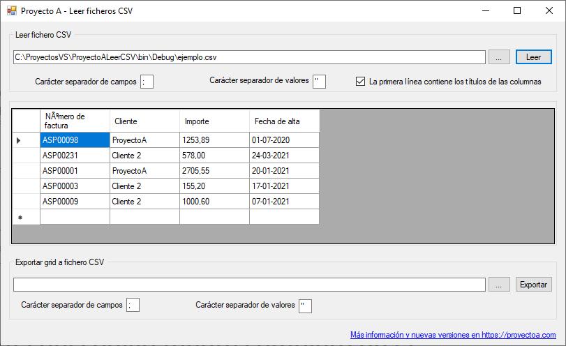 La aplicación ProyectoA Leer Ficheros CSV en funcionamiento
