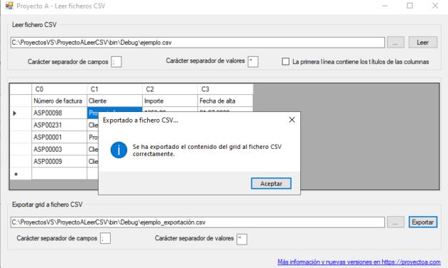 ProyectoA Leer Ficheros CSV Código Fuente C Sharp Net
