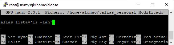 Usar fichero personalizado de alias en Linux