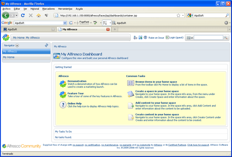 Instalar Alfresco Community Edition 3.2 en Linux Ubuntu Server 9.04