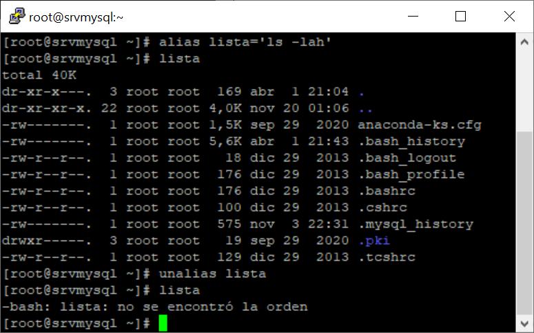 Eliminar alias en Linux de sesión temporal y permanente