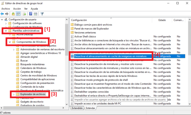 Desactivar el uso y generación del molesto fichero Thumbs.db en Windows 10