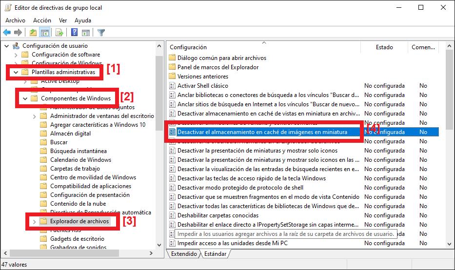 Desactivar el uso y generación del molesto fichero Thumbs.db en Windows 10