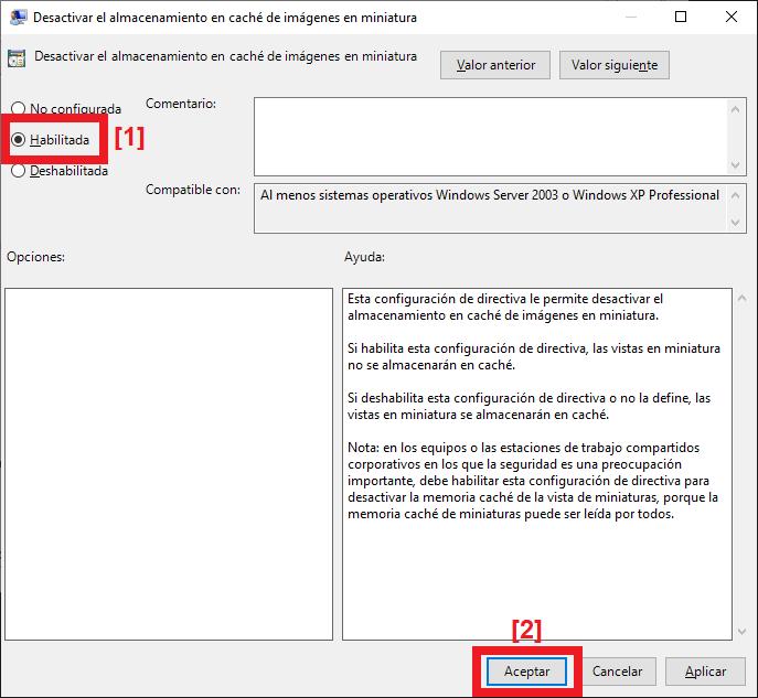 Desactivar generación de fichero de caché de vistas en miniatura thumbs.db desde directiva de grupo
