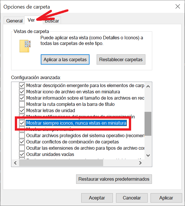 Deshabilitar vistas de miniatura desde las opciones del Explorador de Windows