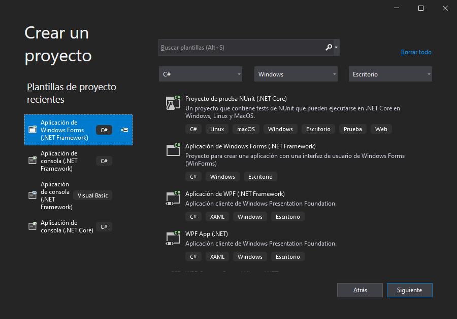 Nuevo proyecto y formulario en Microsoft Visual Studio Community 2019