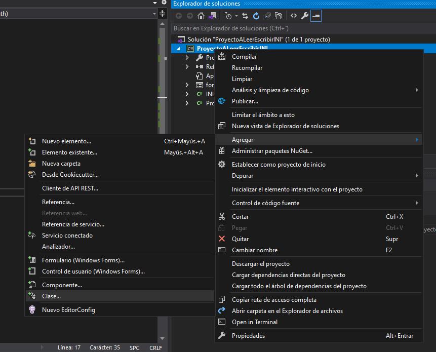 Crear clase con procedimientos para Leer y Escribir en ficheros INI