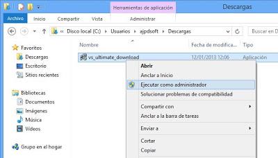 Descarga de Microsoft Visual Studio .Net 2012
