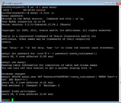Restablecer, recuperar contraseña usuario root de MySQL en Linux Ubuntu Server