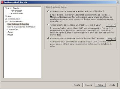 Configurar MDaemon para que use una base de datos MySQL para guardar las cuentas de usuario