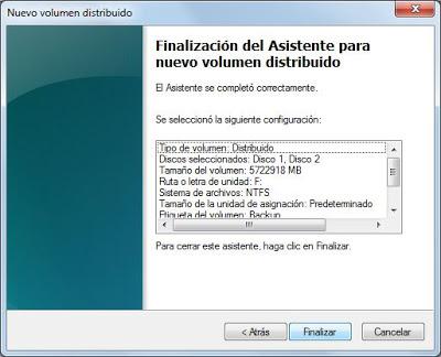 Unir dos discos duros físicos en uno con volumen distribuido en Windows 7