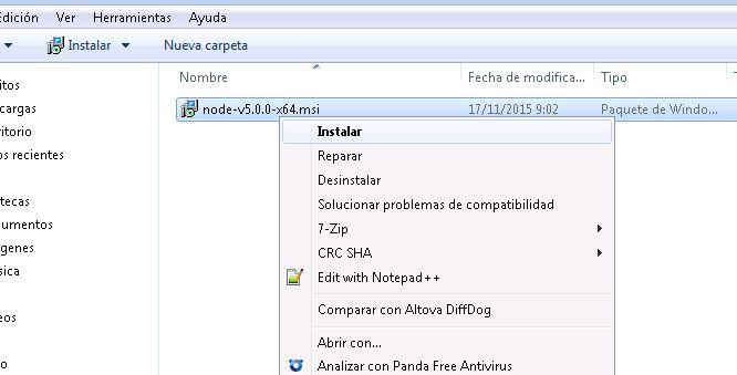 Instalar Node.js en un equipo Windows