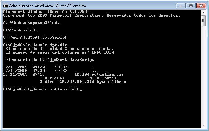 Crear fichero JSON package.json de configuración del paquete con Node.js