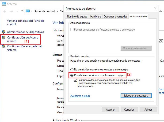 Activar acceso por Escritorio remoto en Windows Server 2019