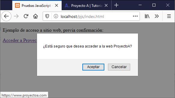 Ejemplo de uso de JavaScript en HTML para mostrar diálogo de confirmación