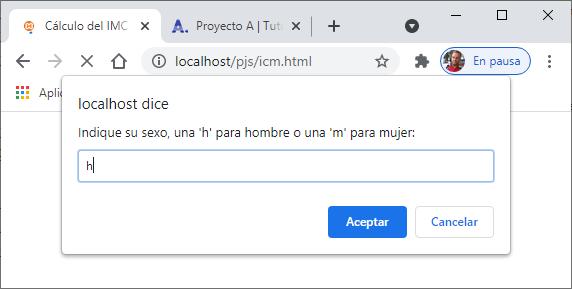 Probar aplicación JavaScript de ejemplo para calcular IMC