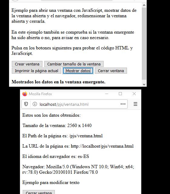 Mostrar ventana con tamaño personalizado usando JavaScript y algunos datos de la ventana actual
