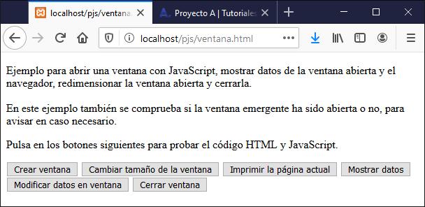 Probando ejemplo HTML y JavaScript para mostrar ventana emergente