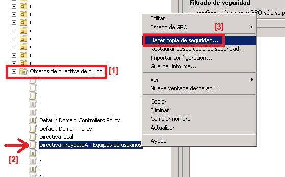 Hacer copia de seguridad de directivas de Grupo en Windows Server 2008 y Directorio Activo