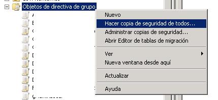 Hacer copia de seguridad de directivas de grupo