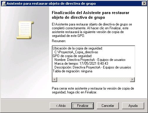 Recuperar directiva de copia de seguridad desde directiva existente (reemplazar)