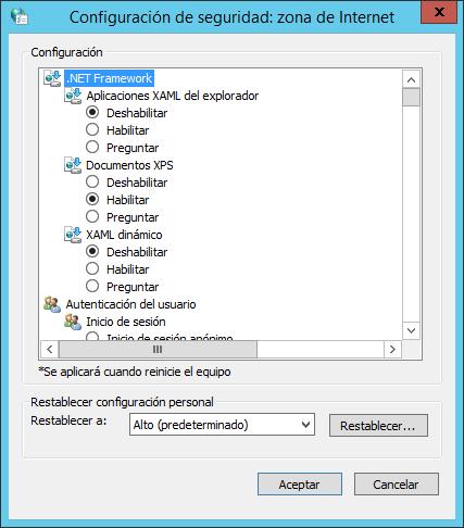 Reducir el nivel de seguridad de la Seguridad Mejorada de Internet Explorer