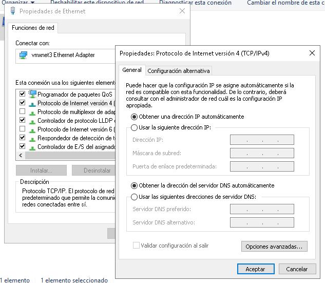 Dirección IP, puerta de enlace, DNS