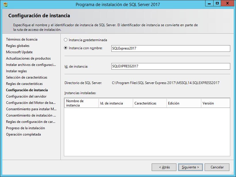 Descarga e instalación de Microsoft SQL Server 2017 Express en Windows Server 2012/2016/2019