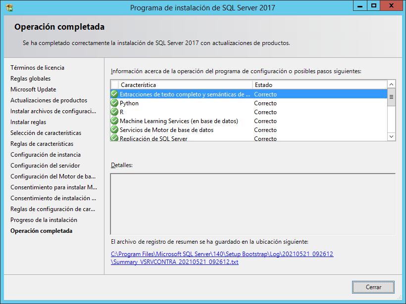 Instalar SQL Server 2017 Express en Windows Server 2012 características y limitaciones