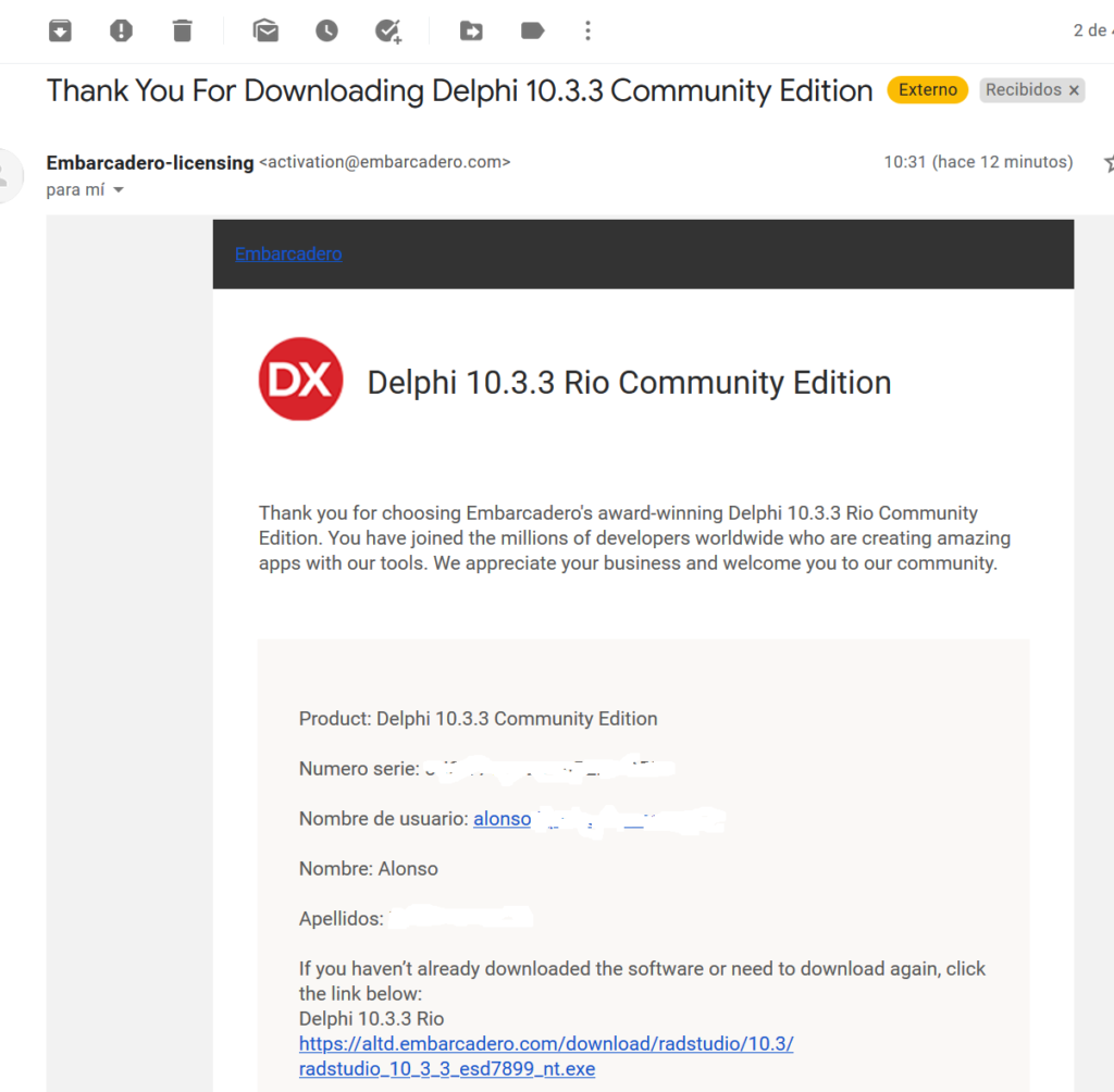 Descarga e instalación de Delphi Community Edition 10.3.3
