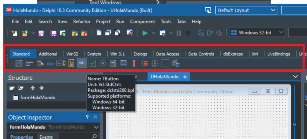 Mi primera aplicación Hola Mundo con Delphi 10.3.3 Community Edition