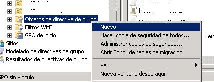Crear directiva de grupo mediante Administración de directivas de grupo